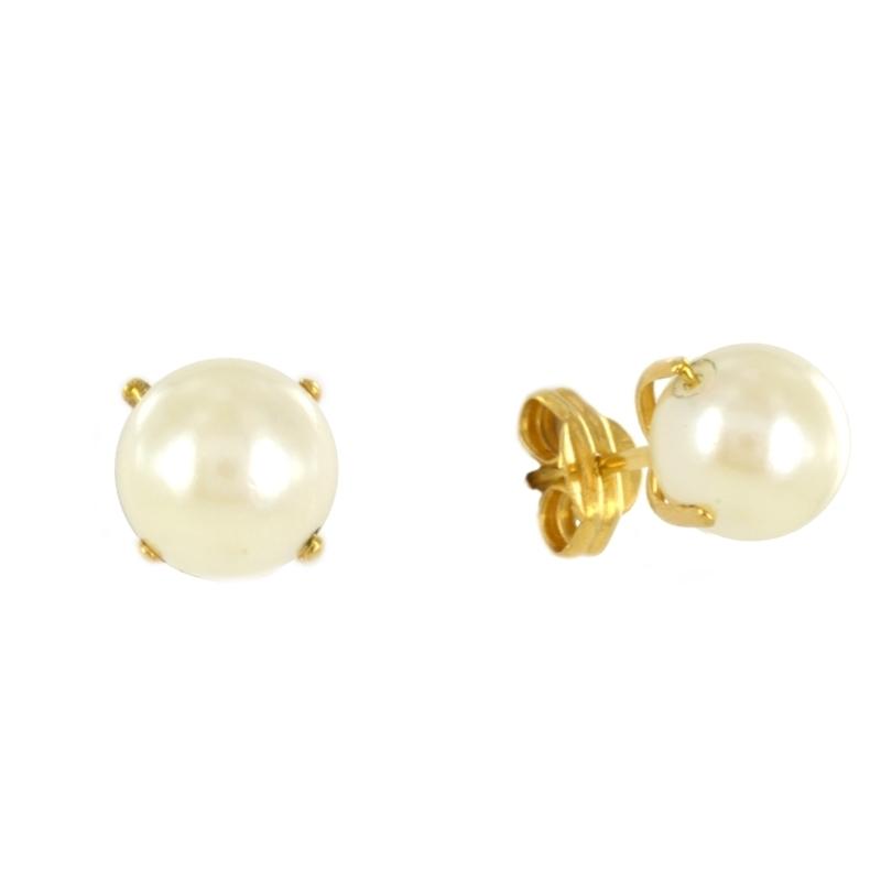 Pendientes oro Perla 6 mm