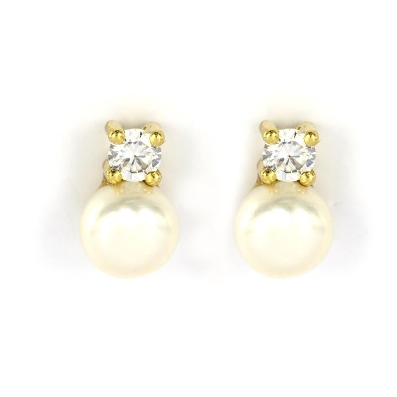Pendientes Tu y Yo oro amarillo perla 7 mm.