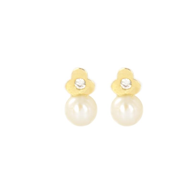 Pendientes oro Trébol circonita y perla