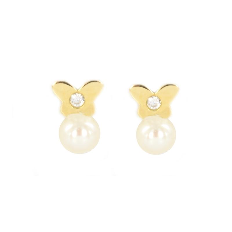 Pendientes oro Mariposa circonita y perla