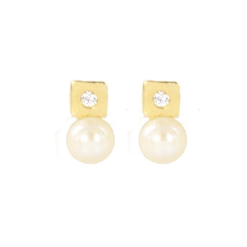 Pendientes oro Cuadrado circonitas y perla