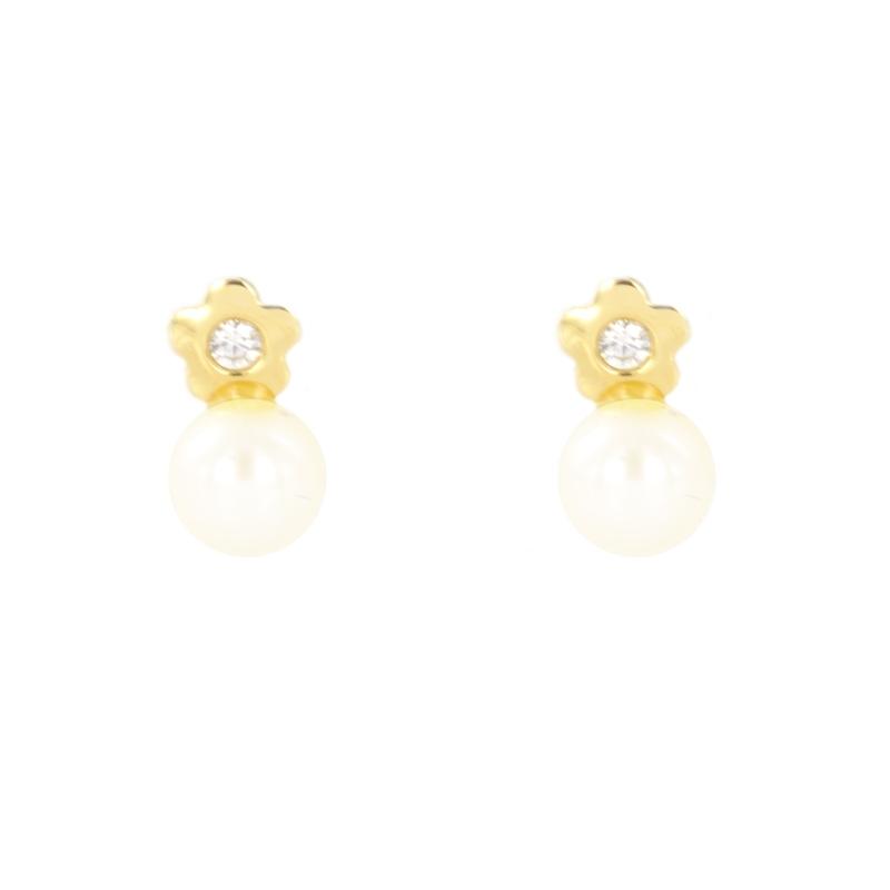 Pendientes oro Flor circonita y perla