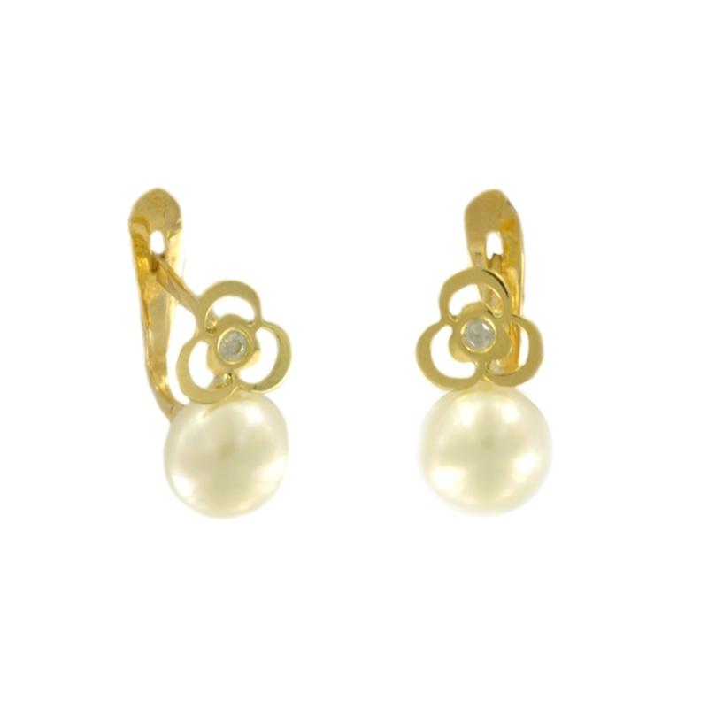 Pendientes oro Trébol perla y circonita