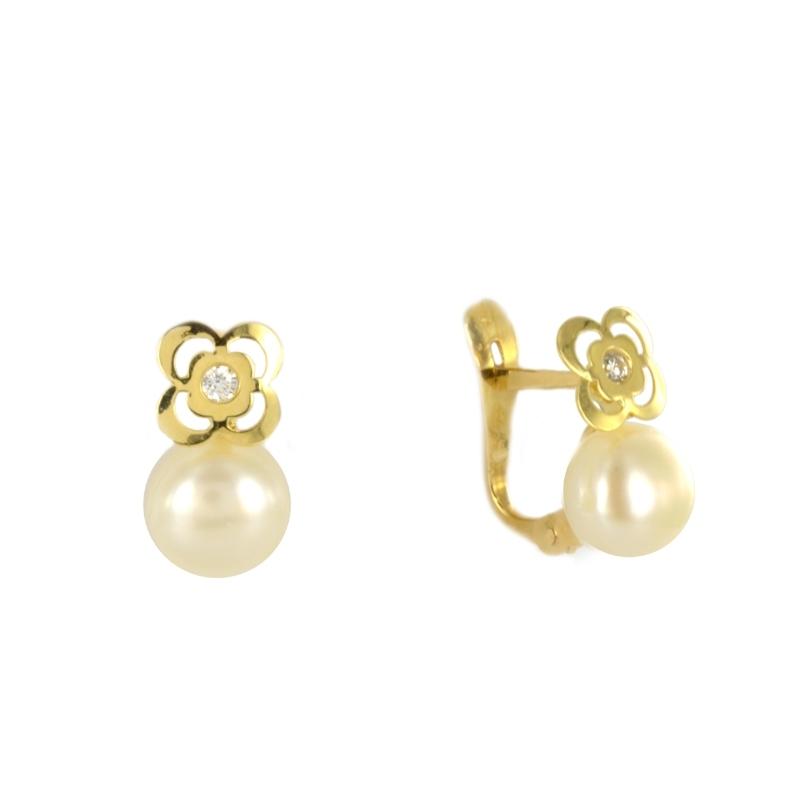 Pendientes oro Flor y perla circonita