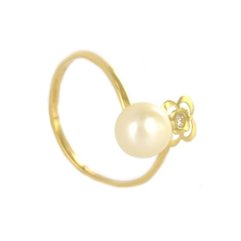 Anillo oro Flor calada, perla y circonita