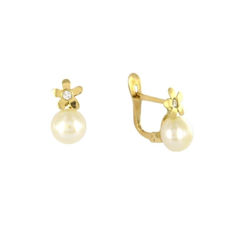 Pendientes Oro Amarillo 18K perlas y circonita – Comuniones