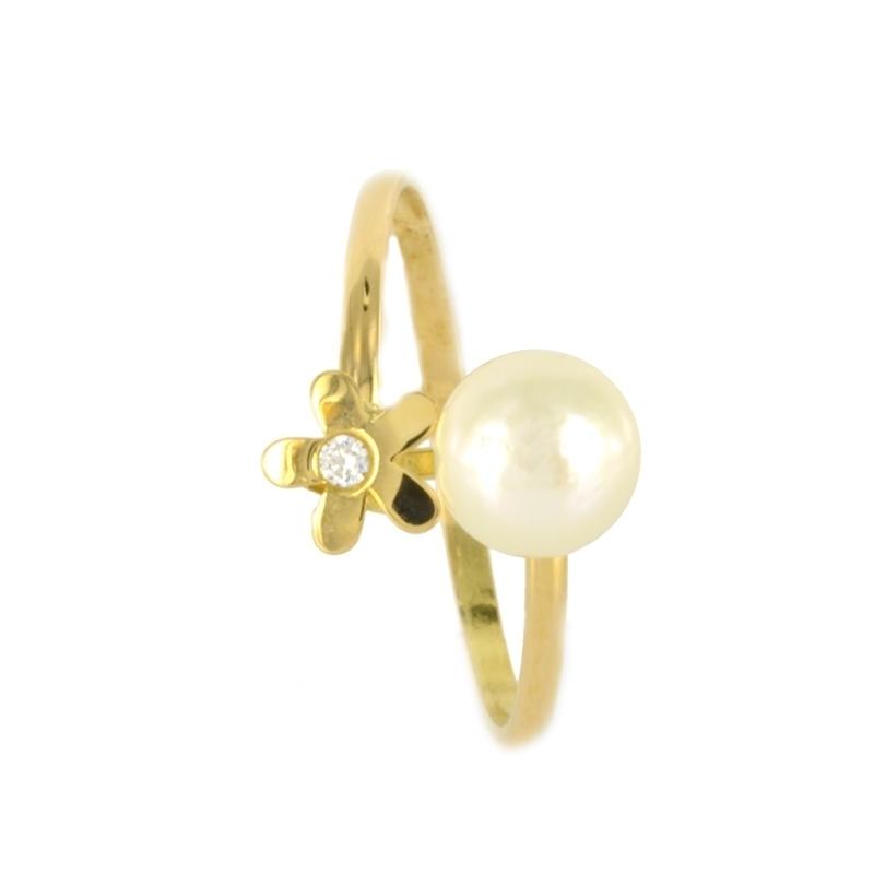 Anillo oro Flor perla y circonita