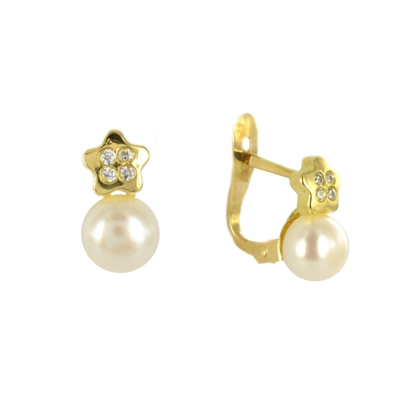 Pendientes Oro Amarillo 18K perlas y circonitas – Comunión