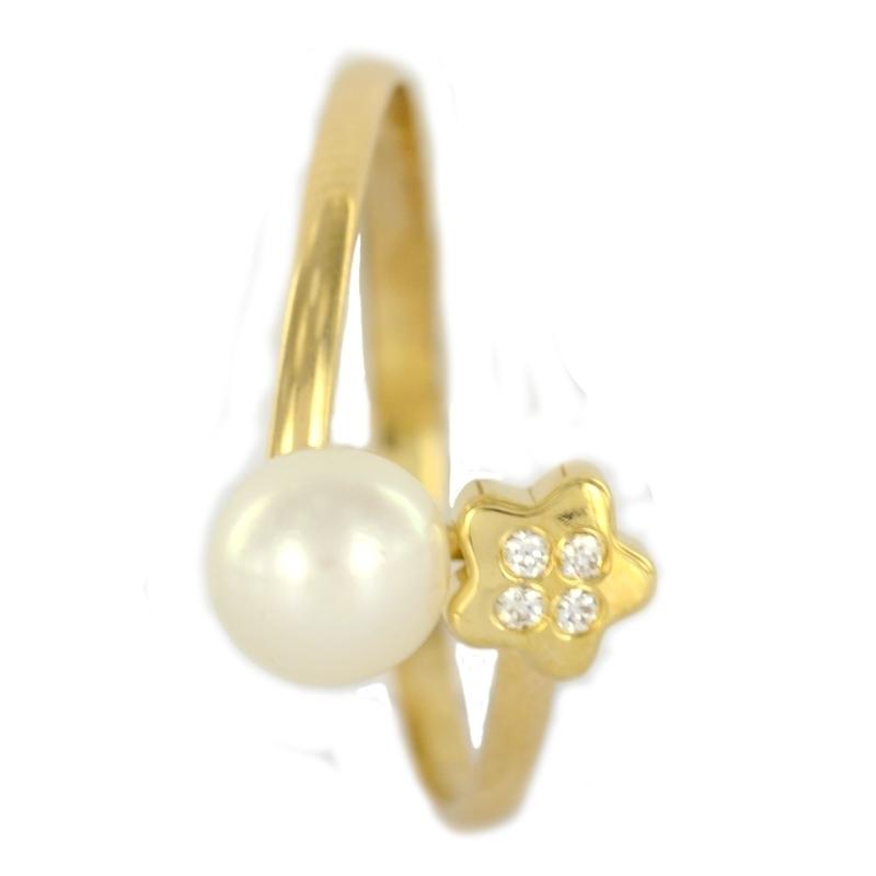 Pendientes oro Anillo oro perla circonita