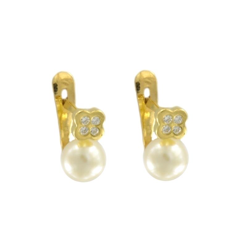 Pendientes oro Cuadrado perla circonita