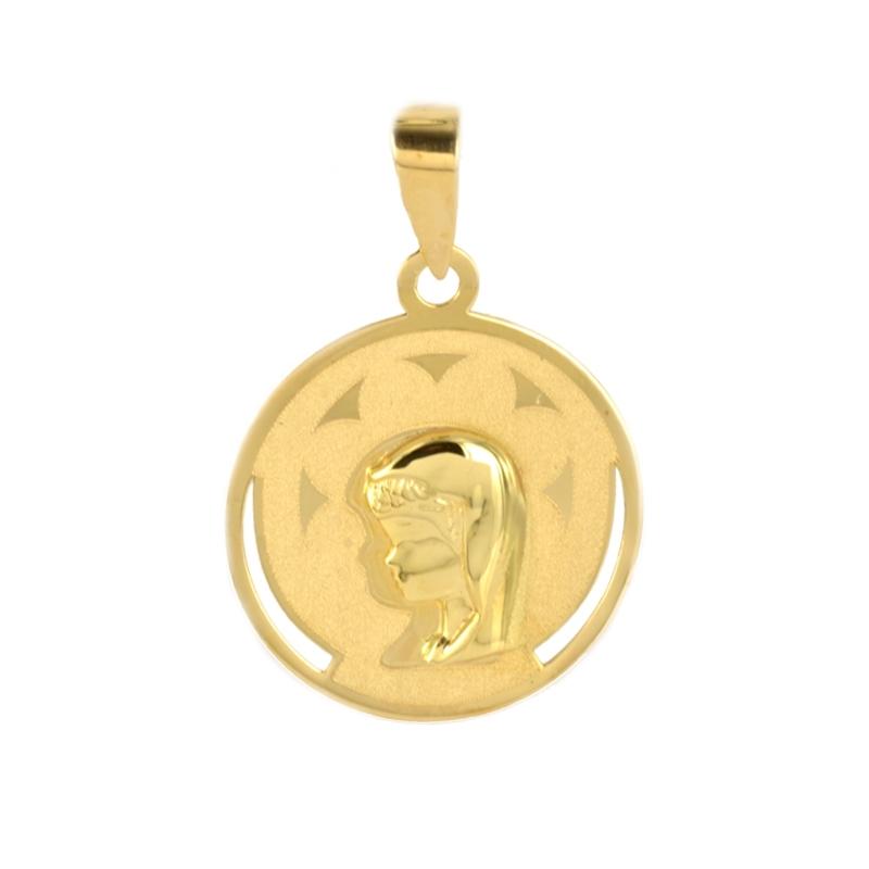 Medalla oro Virgen Niña redonda