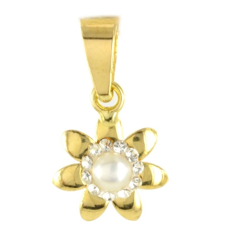 Colgante oro Flor con perla