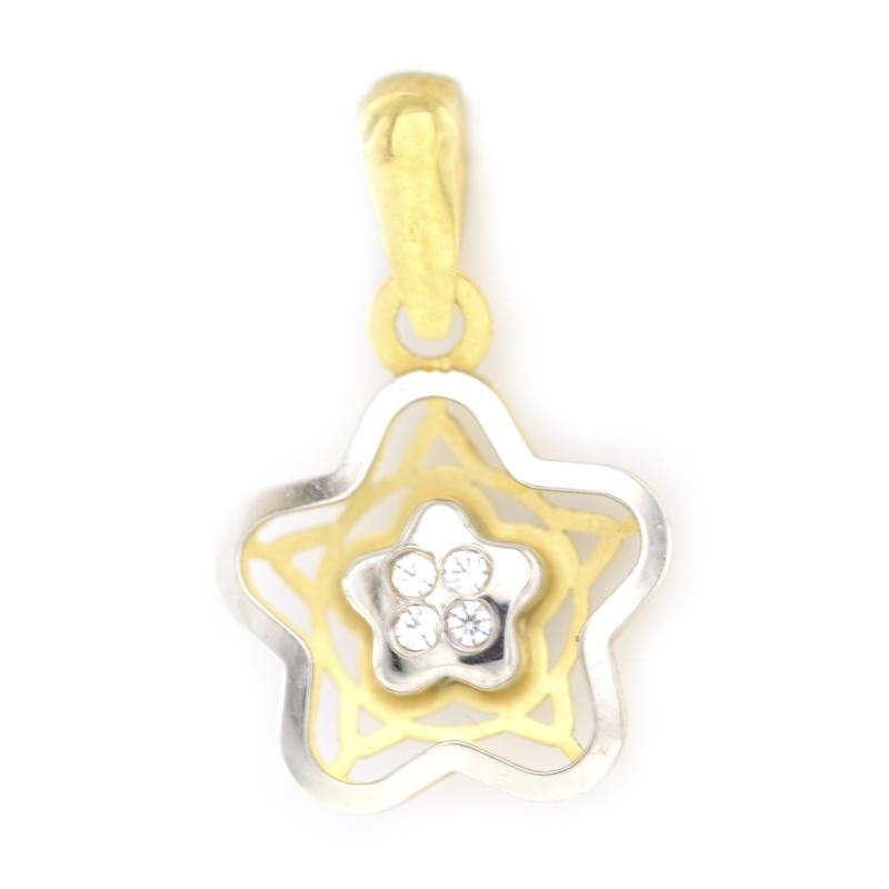 Colgante oro estrella bicolor con circonitas