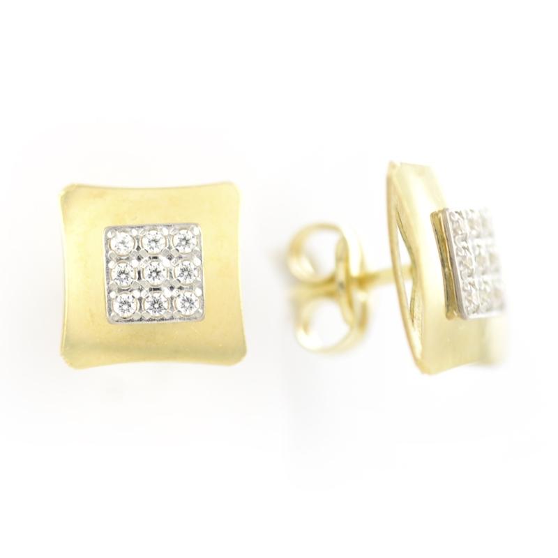Pendiente Oro Amarillo 18K con circonitas