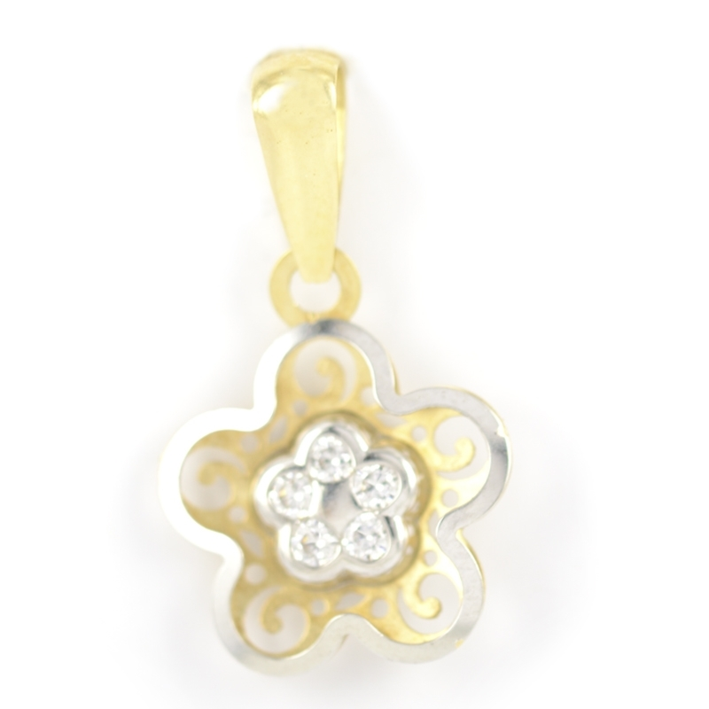 Colgante oro Flor bicolor con circonitas