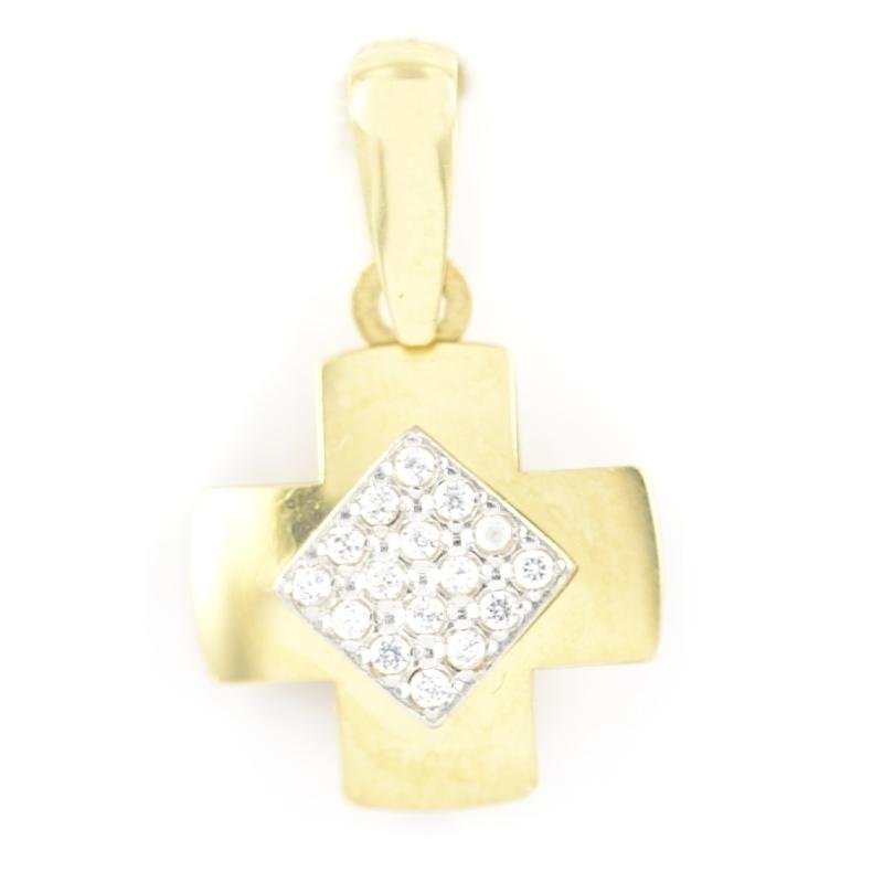 Colgante oro con Cruz oro de circonitas