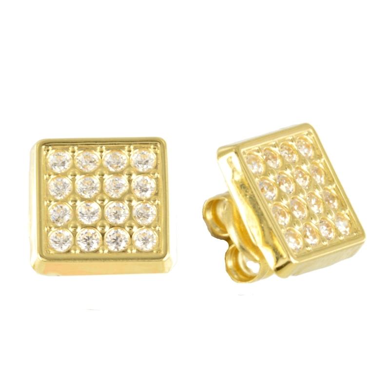 Pendiente Oro Amarillo 18k y circonitas