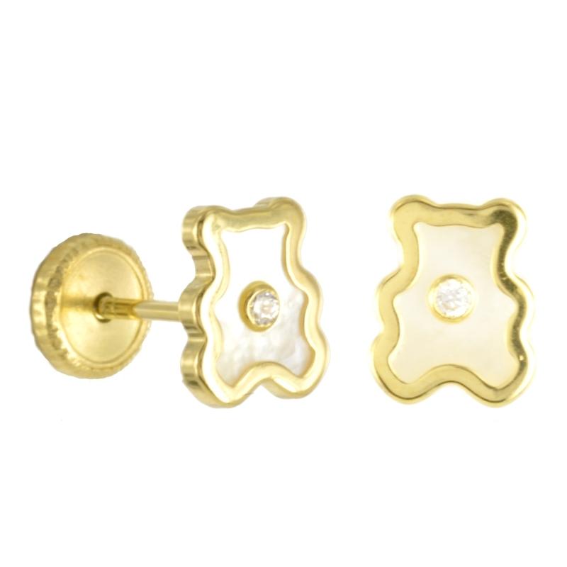 Pendiente Oro Amarillo 18K oso y circonita