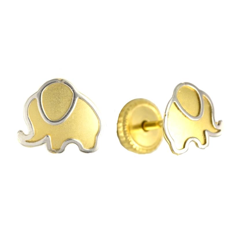 Pendiente Oro Bicolor 18K Elefante