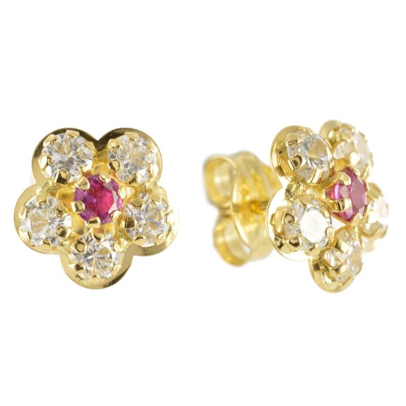 Pendiente Oro Amarillo 18K flor con circonitas y piedra color