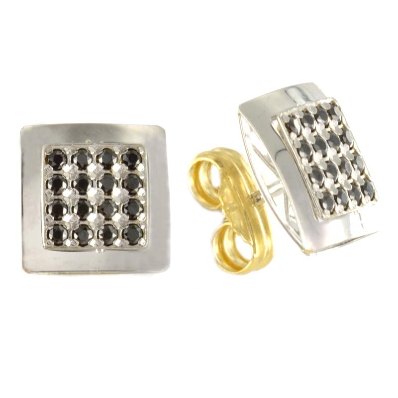 Pendiente Oro Blanco 18K circonitas