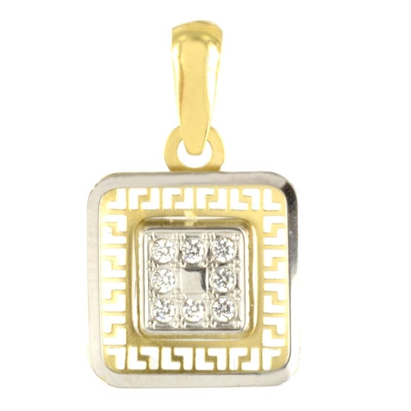 Colgante oro Cuadrado bicolor con circonita