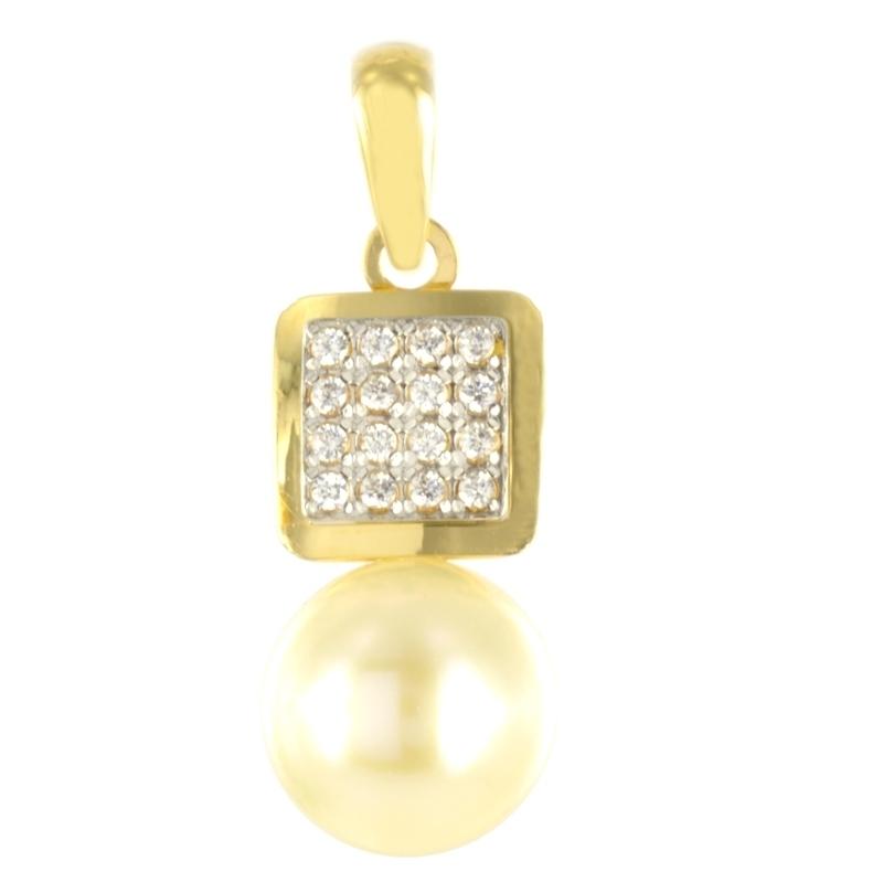 Colgante oro Cuadrado con circonita y perla