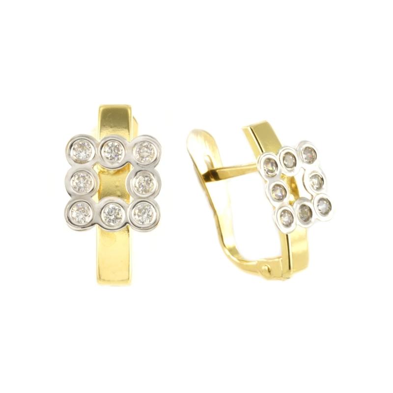Pendientes oro bicolor CuadradoS con circonita