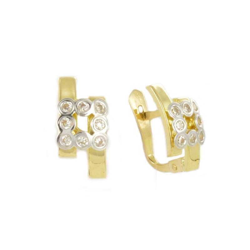 Pendientes oro bicolor CuadradoS con BANDAS y circonitas