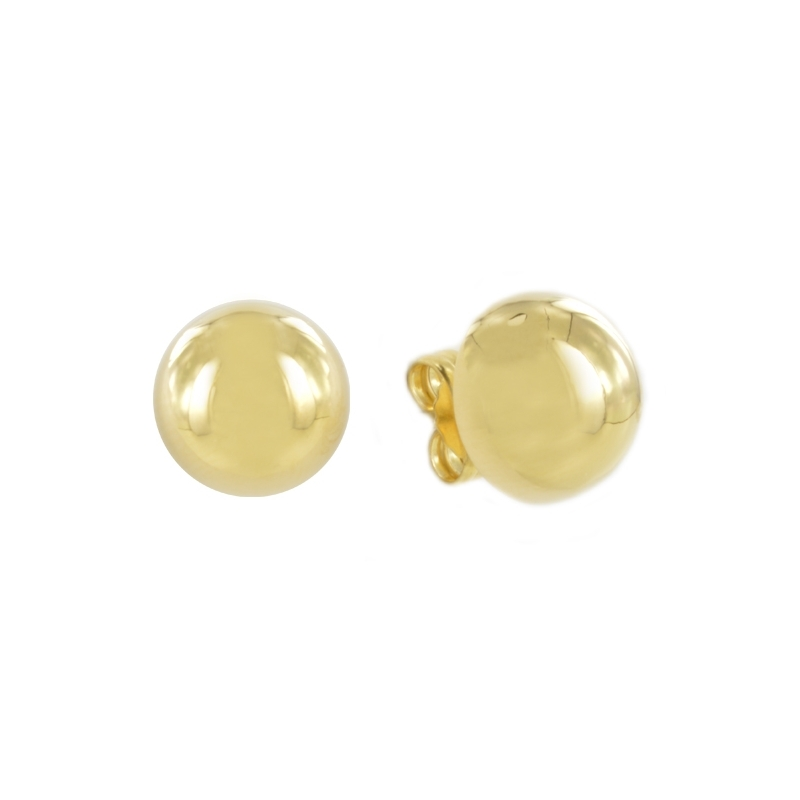 Pendiente Oro Amarillo 18K media bola 10Mm