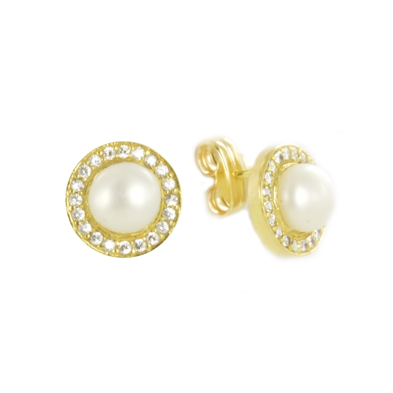 Pendiente Oro Amarillo 18K perla y circonitas