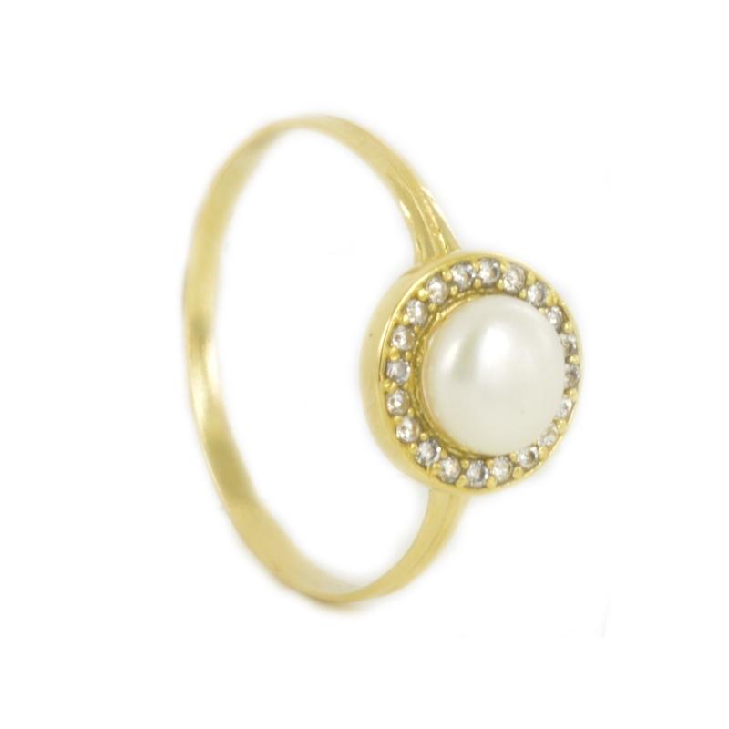 Anillo perla y circonita