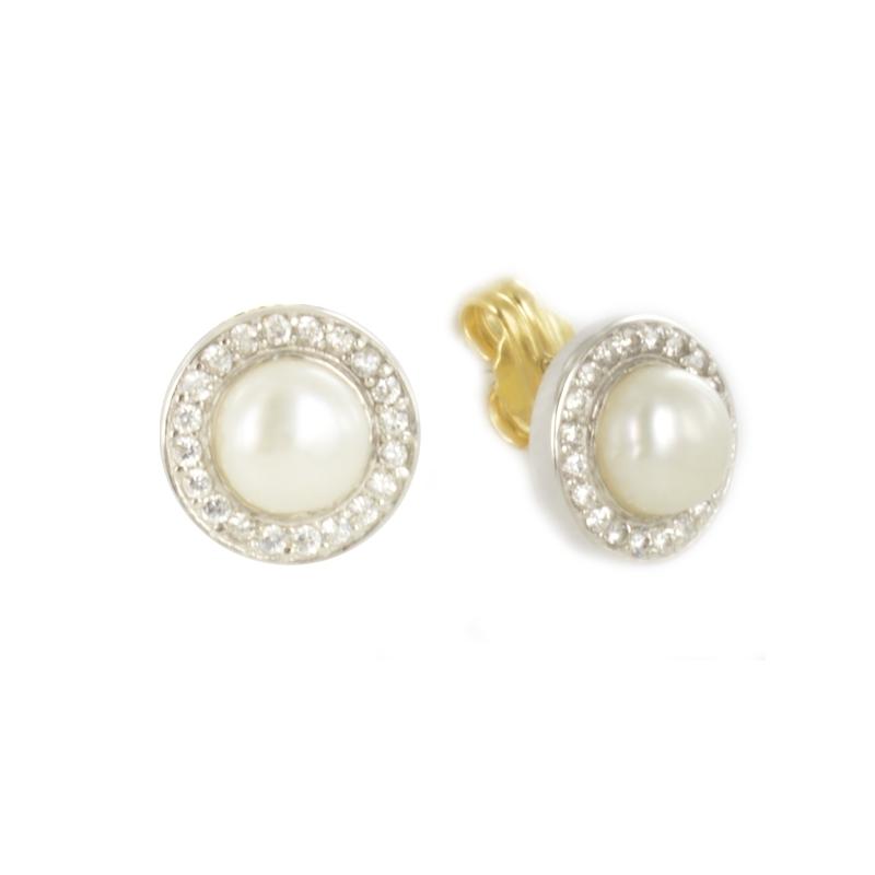 Pendiente Oro Blanco 18K perla y circonitas