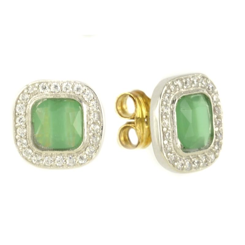 Pendiente Oro Blanco 18K piedra esmeralda