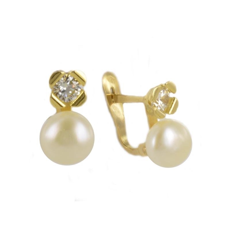 Pendientes Oro Amarillo 18K perlas y circonitas - Comunión