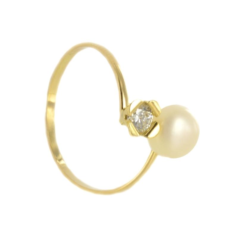Anillo perla y circonita 11x6