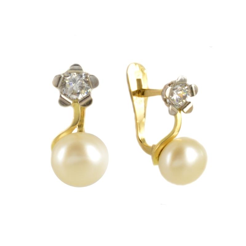 Pendientes oro bicolor con flor y perla 13*6