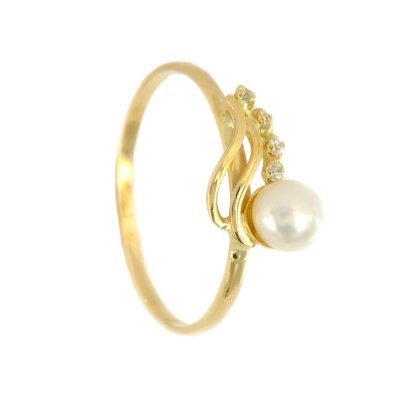 Sortija de Oro de Comunión con perla y circonitas