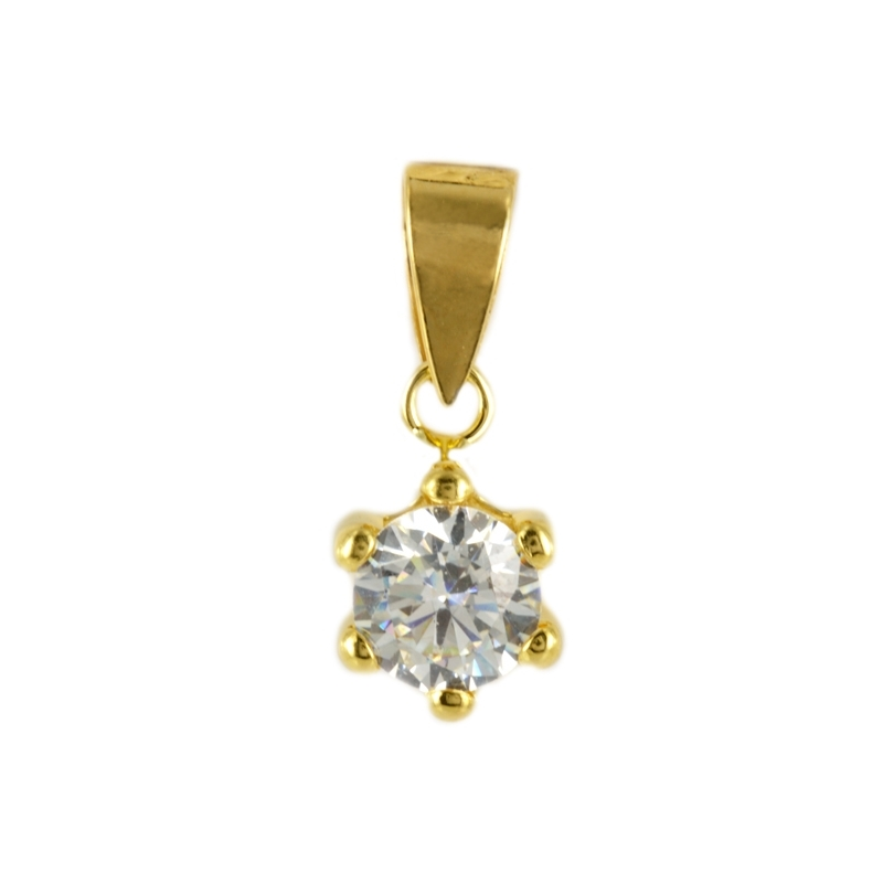 Colgante de Oro garra Flor con circonita 5mm.