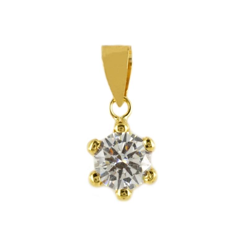 Colgante Oro garra Flor con circonita 6mm.