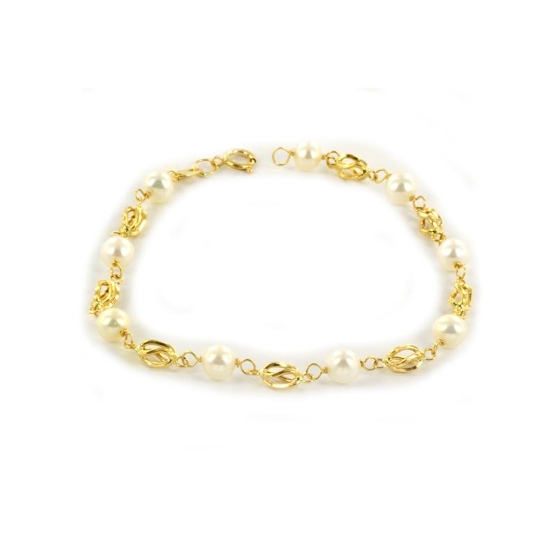 Pulsera de Comunión de Oro y perlas