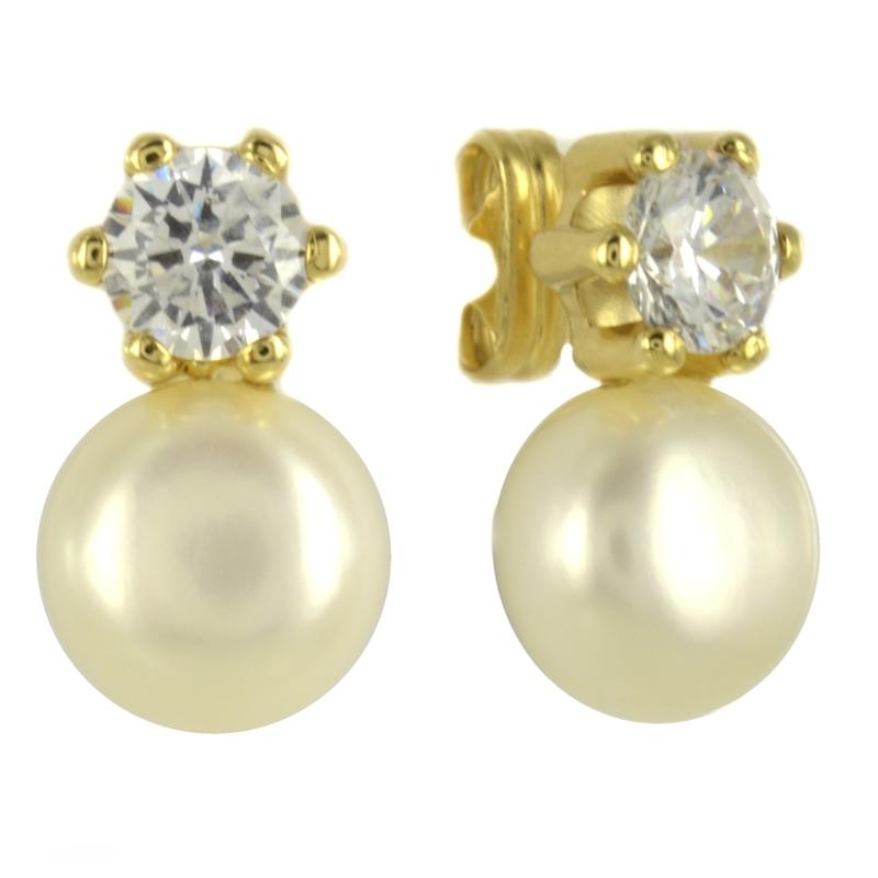 """Pendiente Oro Amarillo 18K perla y circonita """" Tu y Yo"""""""