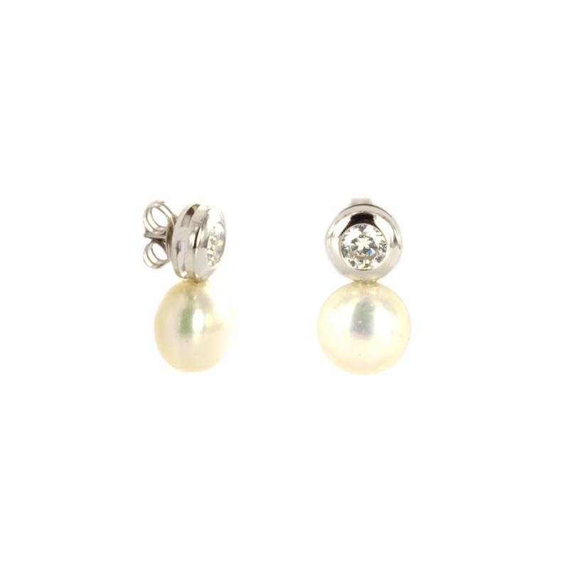 Pendiente Oro Blanco 18K perla y circonita.