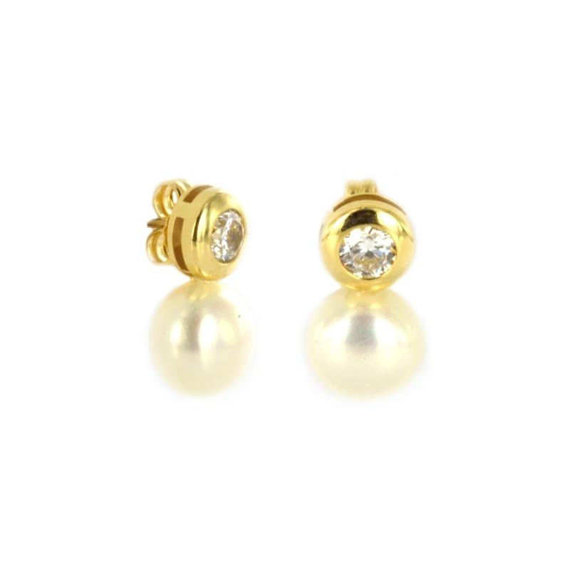 Pendiente Oro Amarillo 18K perla y circonita