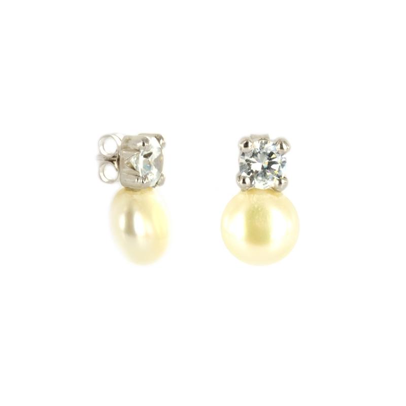 """Pendiente Oro Blanco 18K perla y circonita """" Tu y Yo"""""""