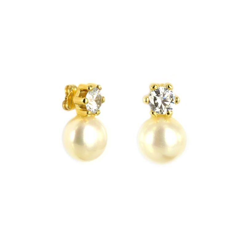 """c705269d3f5a Pendiente Oro Amarillo 18K perla y circonita """" Tu y Yo"""" Oferta. Añadir para  comparar"""