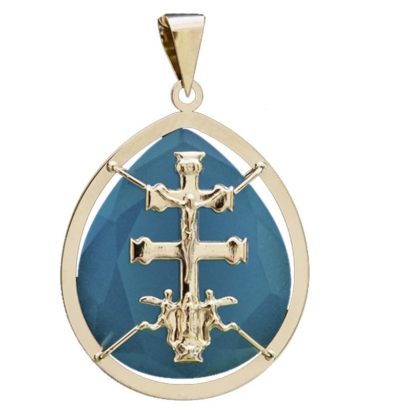Colgante cruz Caravaca Ágata azul