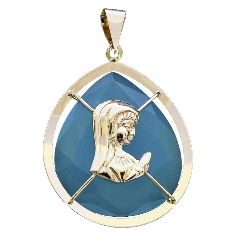 Colgante virgen Ágata azul