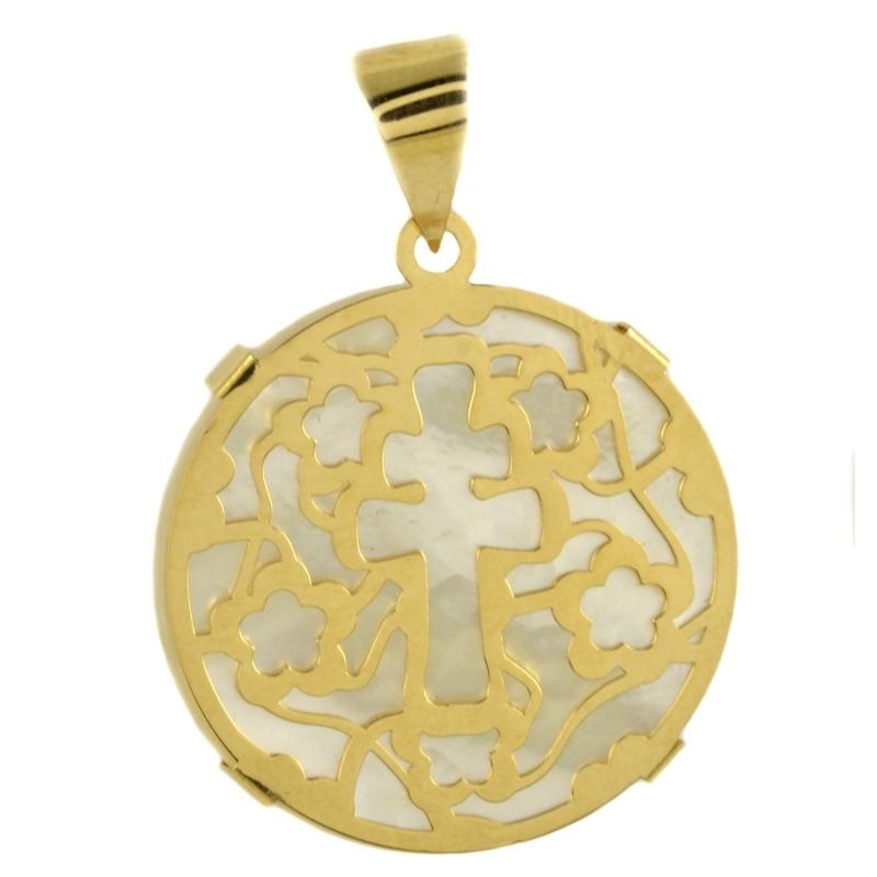 Colgante cruz oro amarillo nácar