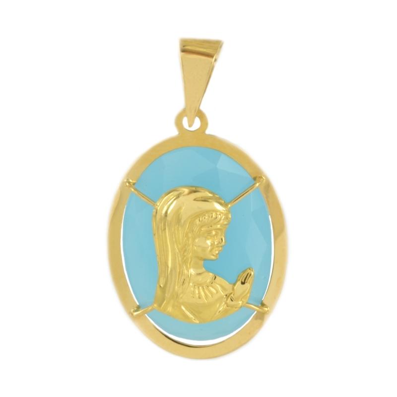 Colgante oro Virgen Ágata azul